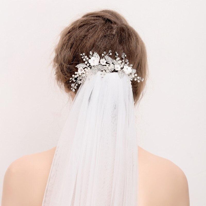 New Design Silver Rhinestone Leaf Hair Clip Vine Wedding Hair Accessories Tiara Pearl Bridal Jewelry Headwear Women Barrettes все цены