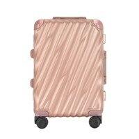 Free Shipping Hardside Rose Gold 20 Elegant Aluminum Frame Luggage With TSA Lock Durable Spinner Wheels Suitcase For Women
