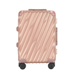 "Free Shipping Hardside Rose Gold 20""  Elegant Aluminum Frame Luggage With TSA Lock Durable Spinner Wheels Suitcase For Women"