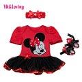 Младенческая Baby Girl Dress 2016 Комплектов Модной Одежды Пачки Хлопка Мультфильм Партии Toddle Девушки Крещение Платья Июля Наряд