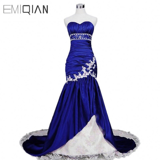 2b08ed1b89d39 Robe de soirée longue sirène classique en taffetas bleu Royal en dentelle  blanche
