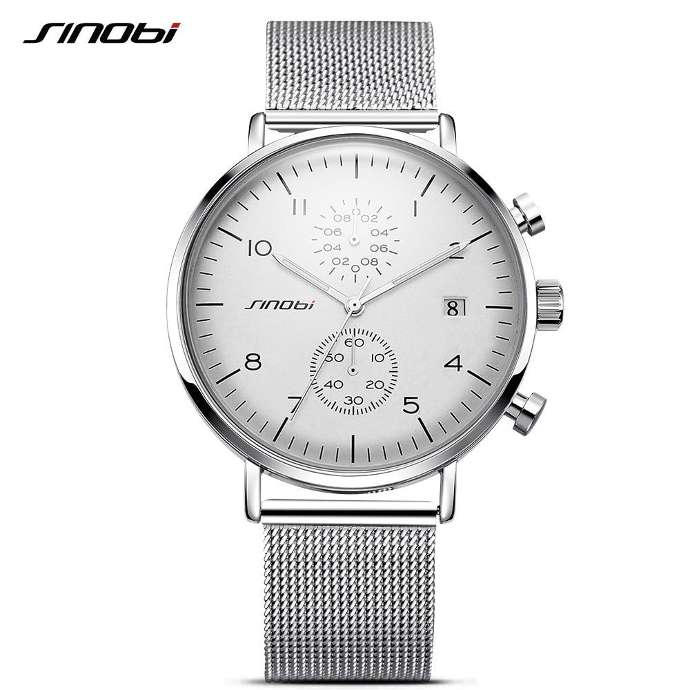 2018 SINOBI New Men Watch Brand Fashion Watches For Men Ultra Slim Silver Wristwatch JAPAN Movement Watch Male Relogio Masculino