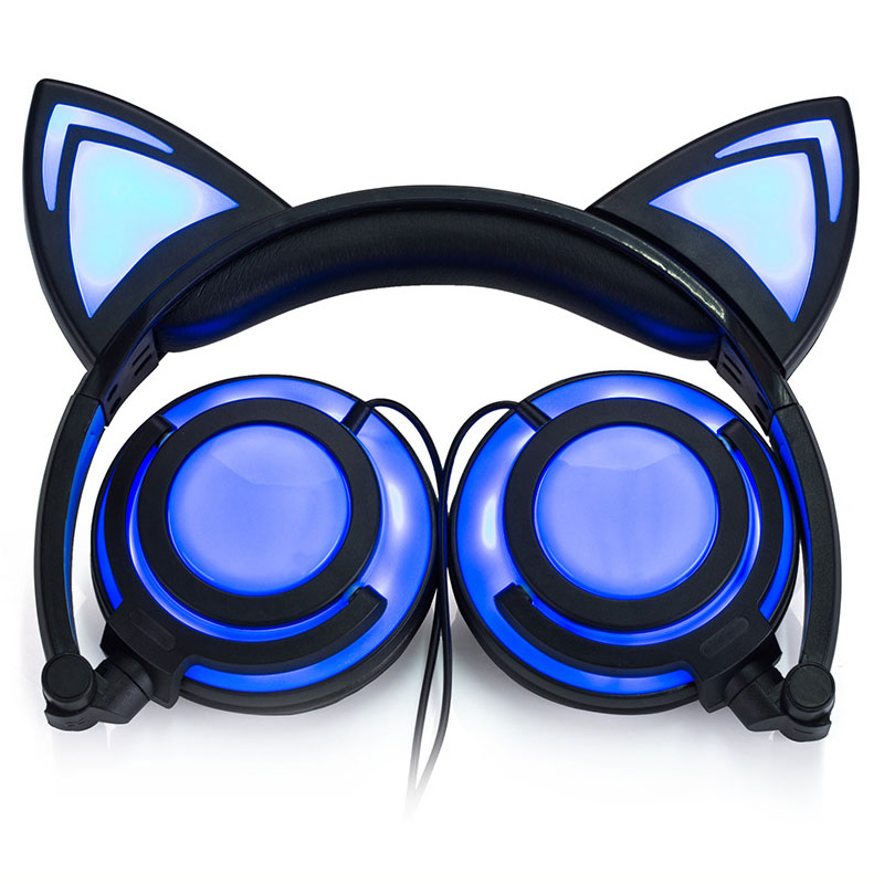 Fashion Girls Cute Cat Ear Headphones Gaming Headset for Mobile Phone Rechargeable Led Light Stereo Headphones for Computer Mp3 foldable bear ear recharging headphones panda gaming headset with glowing led light halloweeen gift for girls kids adults phones