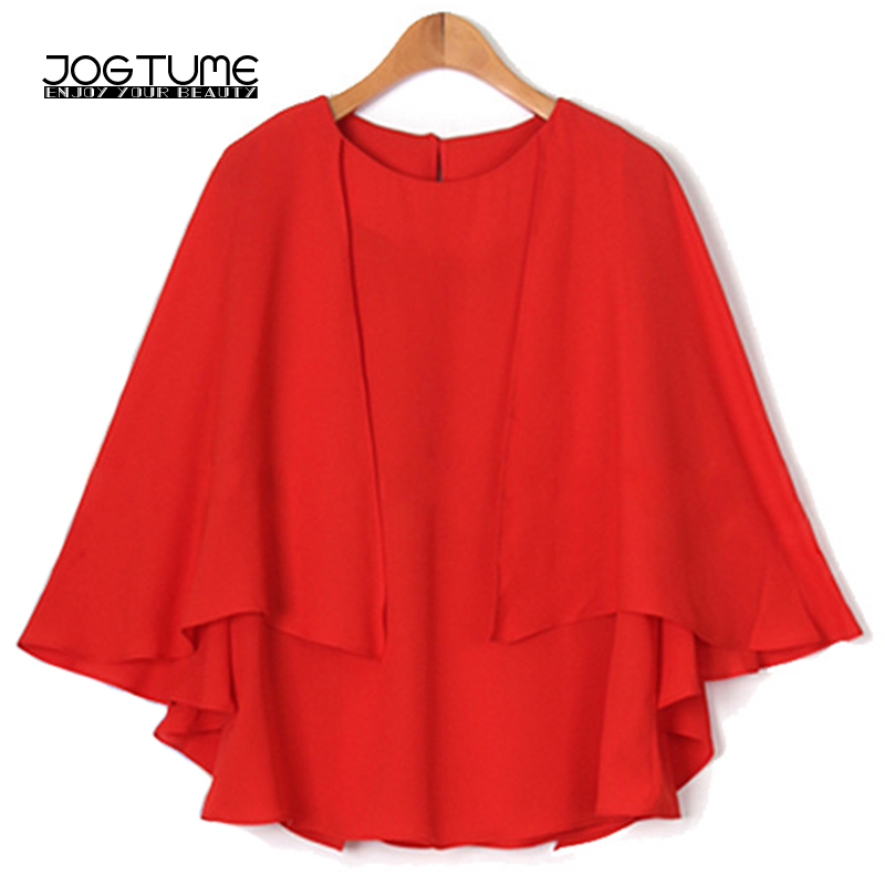 1247bd1a34d Office Ladies Chiffon Blouse Red Navy Color 2018 New Fashion Style Female Tops  Cape Cloak Plus Size 5XL 6XL Womens Batwing Shirt