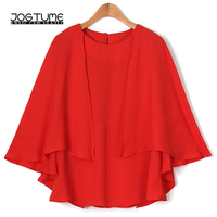 Office Ladies Chiffon Blouse Red Navy Color 2018 New Fashion Style Female Tops Cape Cloak Plus Size 5XL 6XL Womens Batwing Shirt