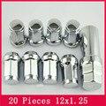 20 Tuercas + 1Key M12x1.25 Tuner Rueda Kit de Bloqueo Estilo Acorn Tuercas FORJADO Clave CERRADAS de aluminio Asiento Cónico tuercas de la rueda
