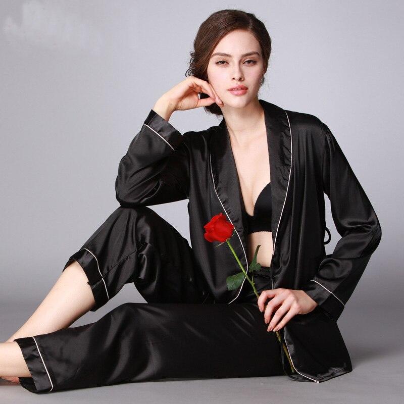 d90a679337499 Женский Атласный пижамный комплект с v-образным вырезом японское кимоно сексуальная  пижама femme мягкая полиэфирная