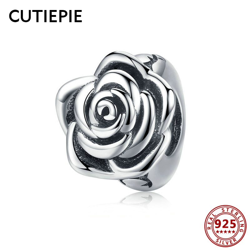 Cutiepie Elegant 100% Actual 925 Sterling Silver Rose Flower Beads Match Charms Pendant Necklace Bracelet For Ladies Silver Jewellery