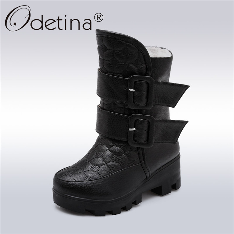 купить Odetina 2017 Fashion Women Platform Thick Heel Ankle Boots Buckle Strap Mid Heel Snow Boots Plush Winter Warm Shoes Big Size 43 дешево