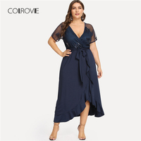 COLROVIE Plus Size Navy Deep V Neck Ruffle Sequin Mesh Wrap Sexy Dress Women 2018 Autumn Black Belted Party Elegant Maxi Dresses
