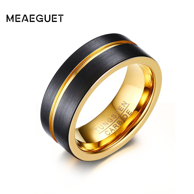 Meaeguet 8MM Wide Gold-Color Tungsten Carbide Ring For Men Trendy One Groove Rings Wedding Bands Jewelry USA Size