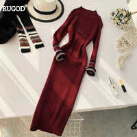 RUGOD Fashion Contrast Color Cuff Long Sleeve Dress 2019 New Autumn Striped Knitted Dress Bodycon Dress Vestifos 2019 Robe Femme