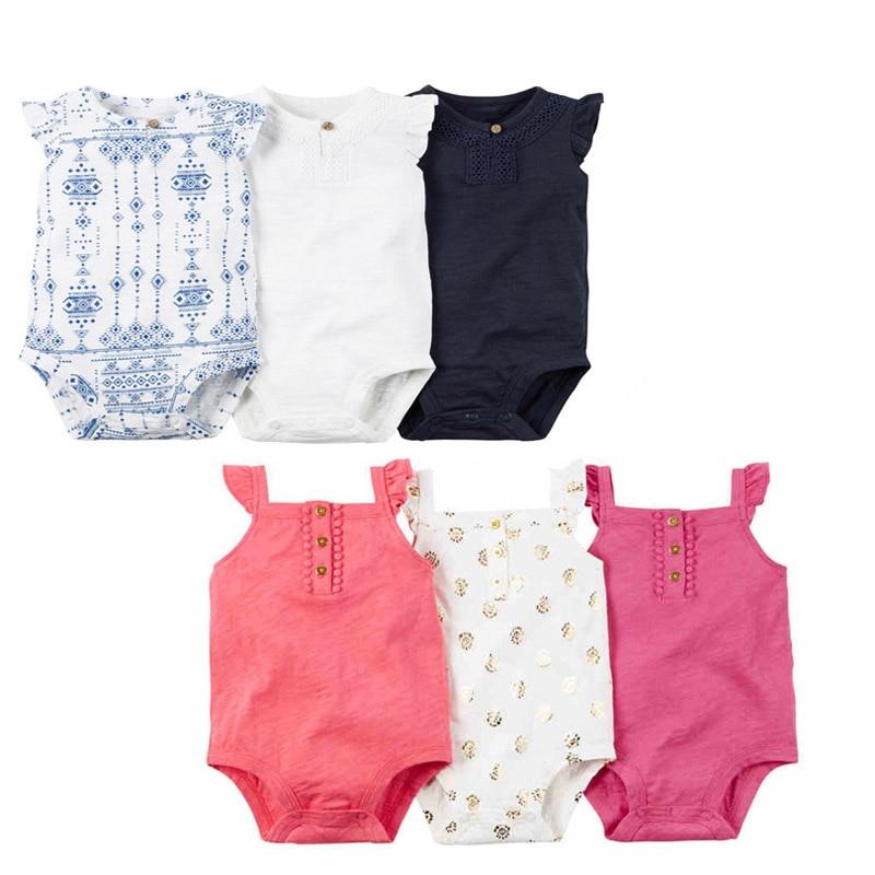 mode 3PCS SUMMER BABY GIRL CLOTHES bomuld blå og hvid porcelæn ærmetøs body til 6-24M nyfødte beber baby pige