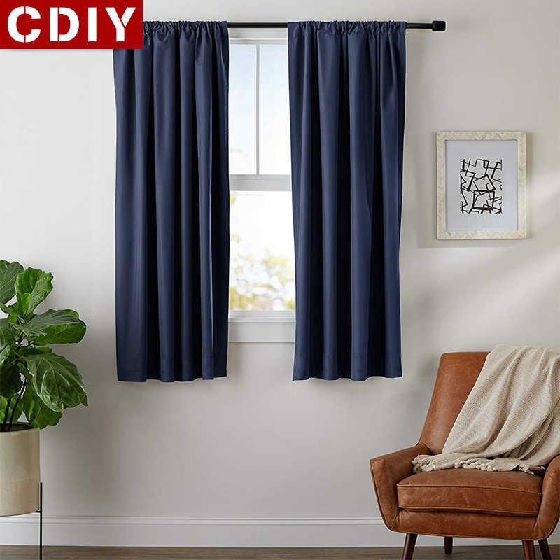 CDIY الصلبة قصيرة الستائر المطبخ ستائر التعتيم غرفة المعيشة أشكال عرض النوافذ الستائر المنزل الديكور الستائر