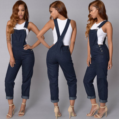 Womens Baggy Denim Jeans Full Length Pinafore Dungaree Overall Jumpsuit Playsuit Bodysuits Overalls For Women