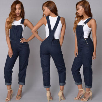 Womens Baggy Denim Jeans Full Length Pinafore Dungaree Overall Jumpsuit Playsuit bodysuits Overalls for women plus size women in overalls