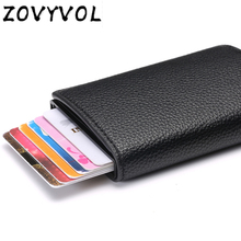 ZOVYVOL  business auto aluminium rfid blocking bank credit card case protection solid women minimalist leather metal wallet