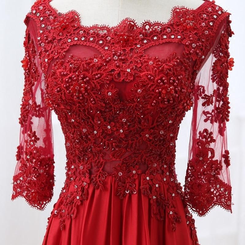 Robe de soirée longue en dentelle rouge à manches - Habillez-vous pour des occasions spéciales - Photo 4