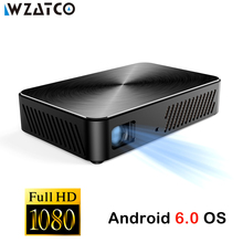 WZATCO J10 Full HD Projector 1920x1080P Build in Android 6.0 WIFI HDMI Portable MINI Projector 1080P Home Theater DLP Proyector