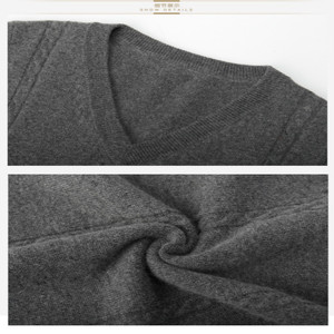 Image 5 - Cashmere sweater mens V collar winter  vest fashion youth business casual knitted sweater coat brand
