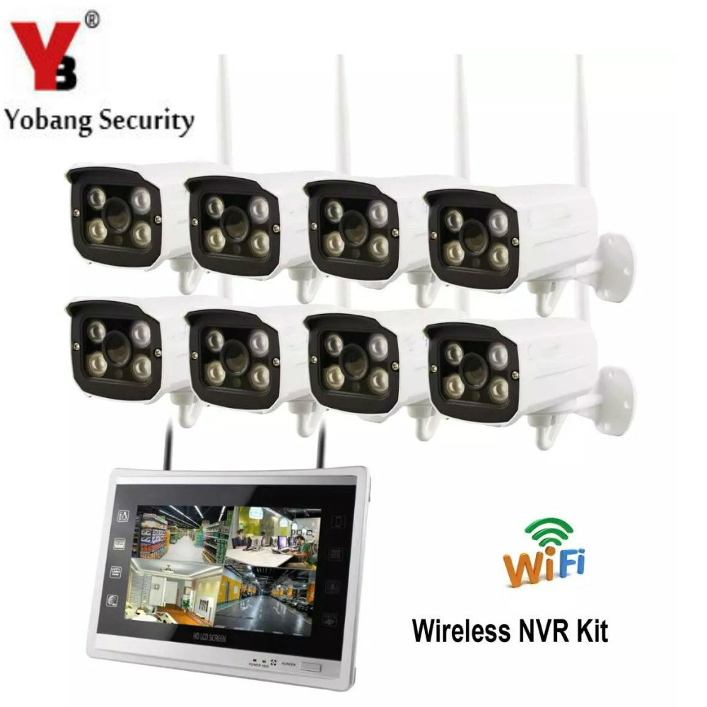 Yobang Security Wifi 12 Inch Monitor 8ch HD Outdoor Waterproof Wireless IP Camera NVR KIT 960P 1.3MP Security CCTV Camera System