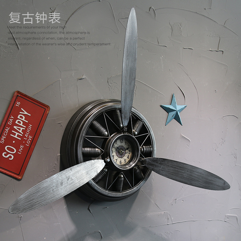 Livraison gratuite 1 pièces américain rétro ancien fer avion moteur horloge maison créative décoration murale balayage horloge horloge murale LU719138