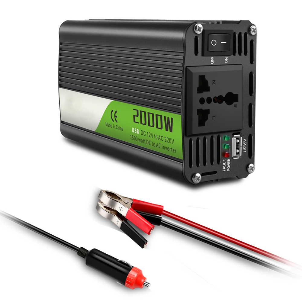 רכב מהפך 12 v כדי 220 v 2000 W כוח ממירי DC AC מתח שנאי ממיר 12 220 + 2.1A USB מטען מתאם עבור Iphone7