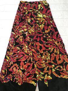 Image 3 - Tissu africain en dentelle, robes de soirée, dentelle, velours violet, verte, paillettes, tissu de haute qualité, 2018