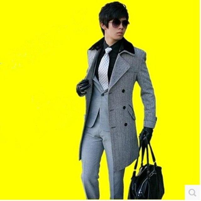 Free shipping ! Hot sale 2019  Brand men's woolen coat business casual jacket Slim Korean Double-breasted wool coat belt 3XL
