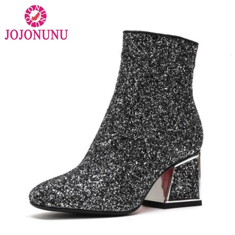 Detail Feedback Questions about JOJONUNU Women Ankle Boots Winter Glitter  Bling Shoes Woman Warm Fur Boots High Heels Zipper Fashion Footwear Size 34  42 on ... 78d0c5c38612