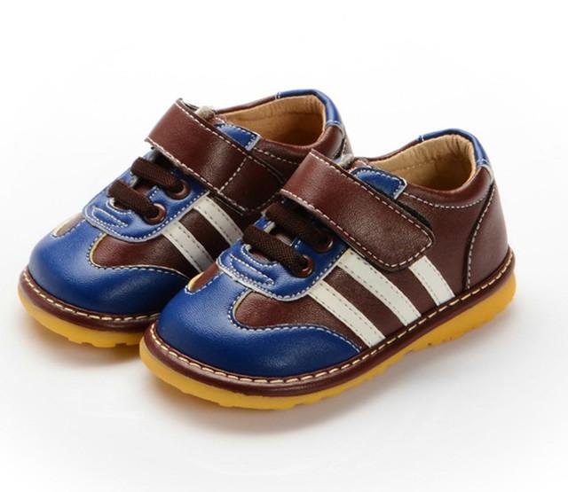 Nueva Primavera Otoño Muchacho de Los Niños Zapatos de Cuero de Moda Bebé Niño Squeaky Shoes Envío Gratis