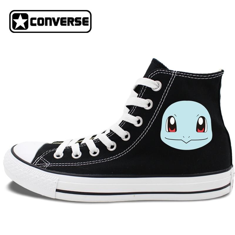 Prix pour Pokemon squirtle conception converse all star chaussures des femmes des hommes chaussures de skate haute tops blanc noir toile sneakers