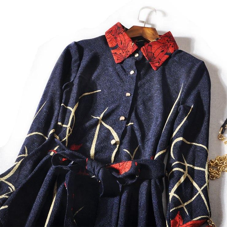 longueur Appliques Genou 2018 Samgpilee Hiver A Blue Col Robe Pan Peter Nouveau ligne Casual Imprimer Complète Femmes Manches Mode Naturel pvz8p