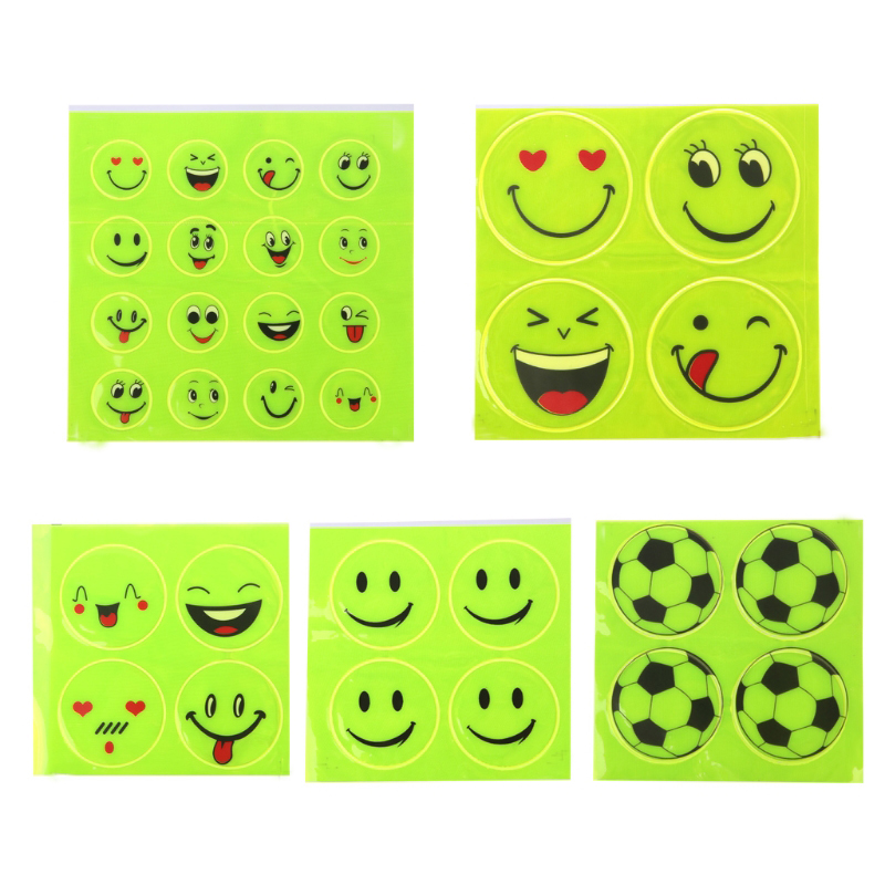 1pcs Smiling Face Pattern Reflective Sticker Funny Reflective Bicycle Sticker Night Riding Sticker  Decoration Accessories
