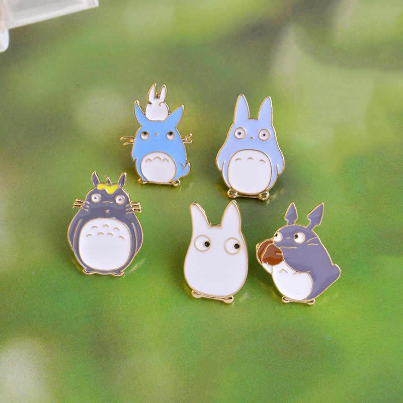 การ์ตูนญี่ปุ่นเพื่อนบ้านของฉัน Totoro Golden เข็มกลัดแฟชั่นน่ารักสัตว์ Badge PIN เด็กสนุกอินเทรนด์ชุดกระเป๋าเป้สะพายหลังเครื่องประดับ