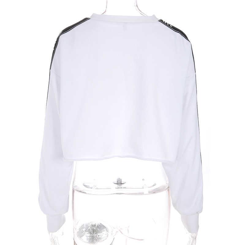 Waatfaak Kebesaran Tanaman Hoodie Sweatshirt Pullover Hoodie Katun Putih Panjang Lengan Patchwork Bordir Sweatshirt