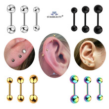 3 pcs/lot 3/4/5mm Black Gold Barbell Earring Ear Nail Bone Piercing Tragus Labret Helix Piercing Body Jewelry Pircing(China)
