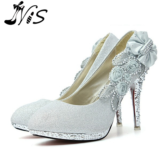 Woman Pumps 2015 Fashion Glitter Gorgeous Wedding Bridal Evening Party  Crystal High Heels Women Shoes Sexy