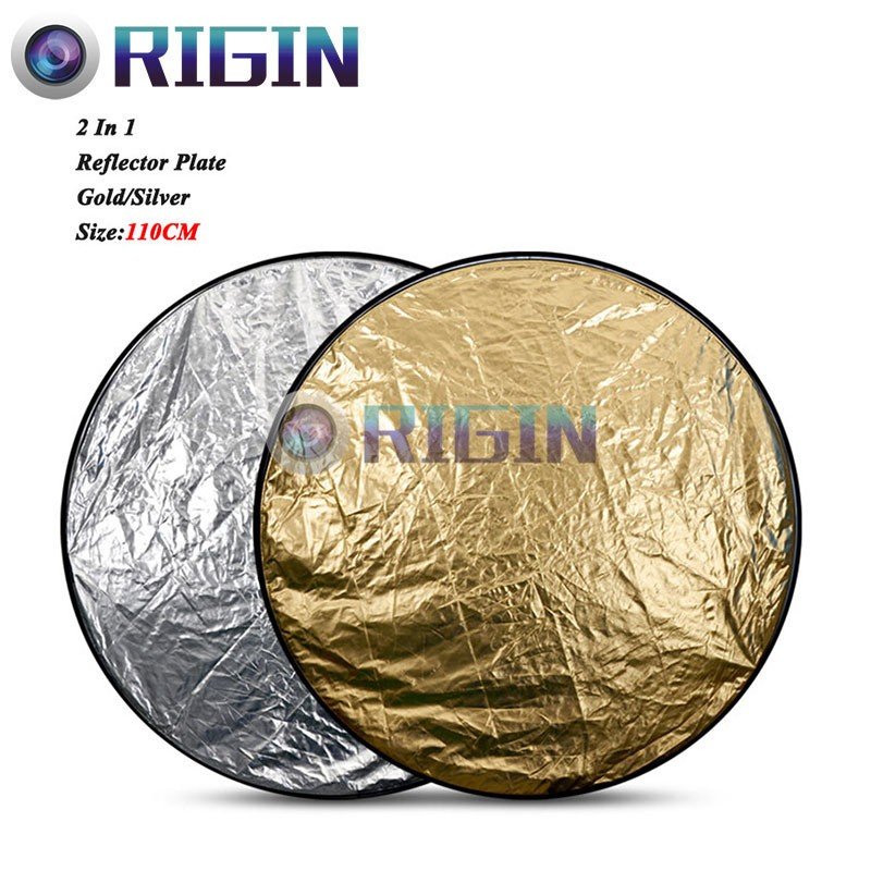 42/110cm Studio Flash Accessories 2in1 Gold & Silver Reflector Dish Board Plate circular For photography