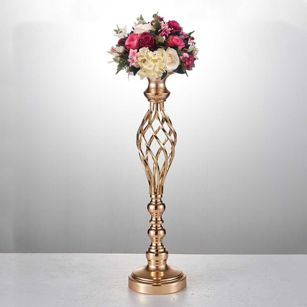 10PCS Gold Flower Vases Candle Holders Rack Stands Wedding Decoration Road Lead Table Centerpiece Pillar Party Event Candlestick