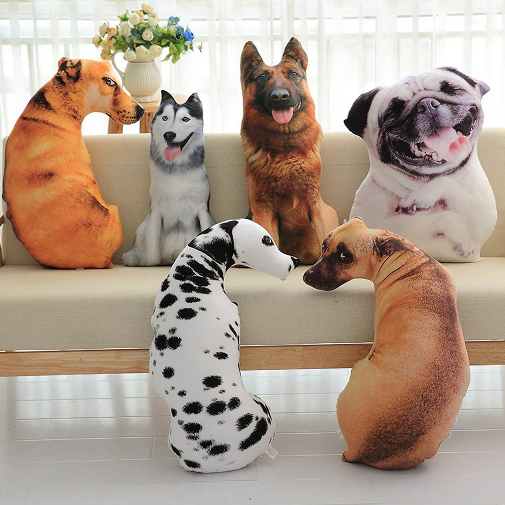 2017 new 3D cartoon simulation pet dog plush cushion, sofa bed cushion throw pillow,creative birthday gift for children