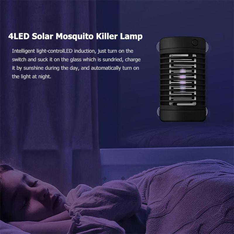 4LED Solar Mosquito Killer Lamp Electric Shock Insect Zapper Fly Trap Light Mosquito Repellent Killer UV Lamp
