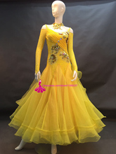 Ballroom Competition Dance Dress For Women High Quality Long Sleeve Yeollow Tango/Waltz Standard Ballroom Dancing Dress