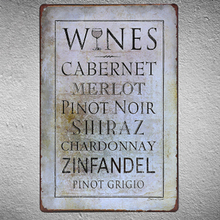 Wine Decor Metal Tin Sign Cabernet Merlot Pinot Noir Famous Wine Brand Art  Plaques Signs Home