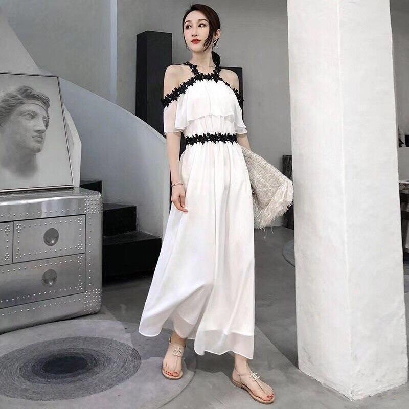 2018 Newest Fashion Western Style Runway Dress White Fashion Summer Casual Dress Spaghetti Strap Dress