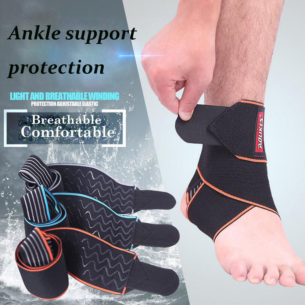 1pcs Silicone Ankle Support Strap Basketball Football Professional Adjustable Ankle Sleeve Protection Ankle Brace Sport Safety adjustable sport magnetic keen protection pad brace black