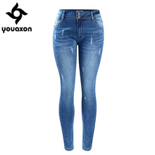 2052 Youaxon Women`s Basic Chic Style Fading Stretch Skinny Ture Denim Jeans Woman Pantalon Femme Free Shipping
