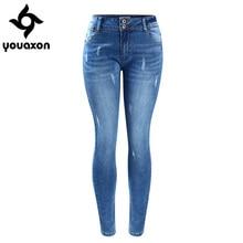 2052 Youaxon Women`s Basic Chic Style Fading Stretch Skinny Ture Denim Jeans Woman Pantalon Femme Free Shipping