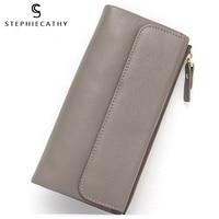 SC Luxury Genuine Leather Card Zipper Wallet Thin Slim Female Women Long Functional Multi Pockets Leather Purses&Wallets