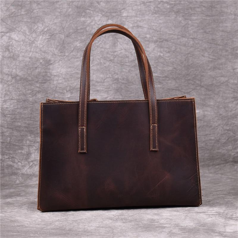 Vintage Handmade Genuine Leather Ladies Tote Bag Cowhide Simple Handbag Fashion Women\'S Shopping Shoulder Messenger Bag
